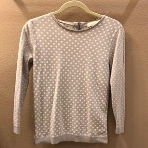 Loft gray with white polka dot sweater size small